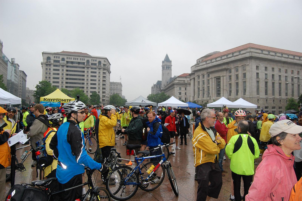 A shot from the Bike to Work Day crows at the Freedom Plaza pit stop. Even in the rain, people had a great time!