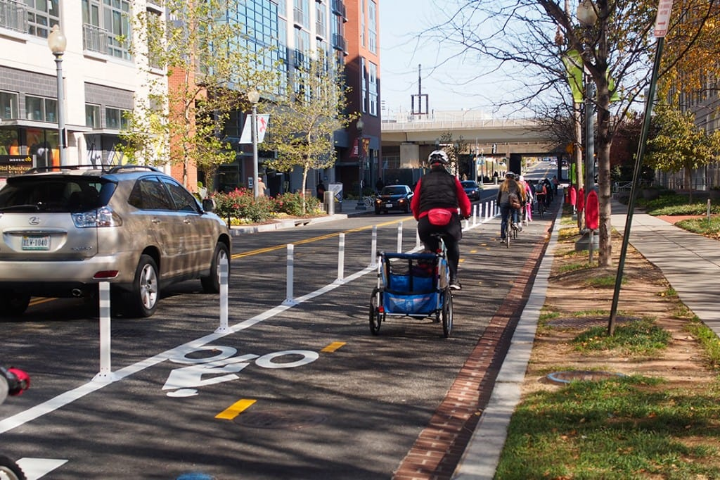 M St. NE protected bike lane